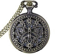 Fashion Hollow Out Butterfly Shape Vintage Alloy Quartz Analog Pocket Watch With Chains (1 x LR626)