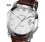 EASMAN Men Watches Vintage Leather Date Quartz Watch Mens Luxury Sapphire Glass Stainless Steel Case Japan Wristwatch
