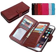 la moda de cuero de la PU 2 en 1 casos desmontables de cuerpo completo y teléfono celular contraportada con la carpeta 9 ranura de la