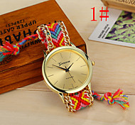 Women's Watch New Geneva Hand Woven Color Pull Rope Watch