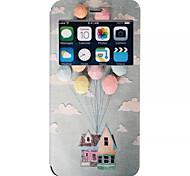 padrão balão pu material de tampa aberta a janela de couro para iphone 6s