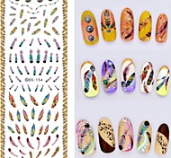 Big Page Water Transfer Printing Colourful Feathers Nail Stickers