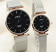 Couple's Round Dial Alloy Band Lovers' Quartz Analog Wrist Watch Cool Watches Unique Watches