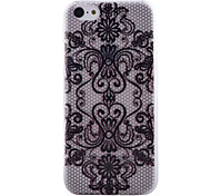 Black Printing Pattern Transparent TPU Material Soft Thin Cell Phone Case for iPhone 5C