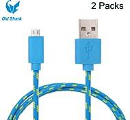 2 pakcs 2m 6ft de carga micro USB y sincronización de datos tela de cable cordón trenzado tejidas para dispositivos HTC Android de Samsung