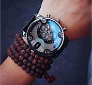 Hommes Bracelet Montre Quartz Cuir Bande Marque-