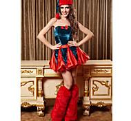 Halloween / Christmas / Carnival / Oktoberfest / New Year Female Santa Suits Costumes Dress / Leg Warmers / Hat