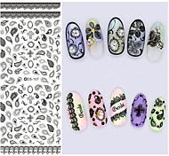 Big Page Water Transfer Printing Black Petal Nail Stickers