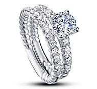 luxuriöse Hochzeit 925 Sterling Silber weißen Zirkonia Ringe für Frauen