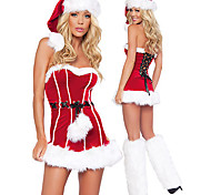 Back Lace-up Red Fur Dress Women's Christmas Costume