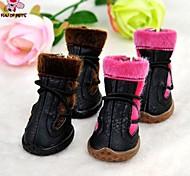 Dog Socks & Boots Winter - Black / Pink - Wedding / Cosplay - PU Leather