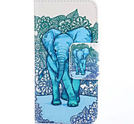 Elephant Pattern PU Leather Full Body Cases Phone Shell with Card Bag for iPhone 4/4S