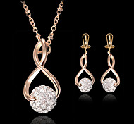 Lucky Doll Women's All Matching 925 Silver Plated Zirconia Necklace & Earrings Jewelry Sets