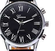 Fashion Roman Dial Mens Elegant Leather Black Analog Quartz Wrist Watch Cool Watch Unique Watch