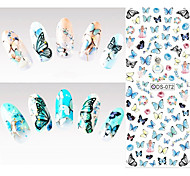 Big Page Water Transfer Printing Blue Butterfly Nail Stickers