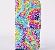 Color Lotus Pattern PU Leather Full Body Case with Card Slot for iPhone 4/4S