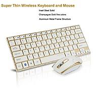 Multimedia Slim Aluminum Wireless 2.4GHz Keyboard & Bluetooth Mouse Mice Set for Windows 7/8 Vista XP PC Laptop Desktop