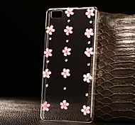 DIY Pink Blooming Blossoms with Rhinestone Pattern PC Hard Case for Multiple Huawei P8/P8 Lite