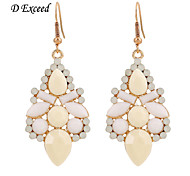 D Exceed  Lady Charm Earrings 18K Gold Plated Beige Color Resin Gemstone Long Drop Earings Jewelry