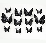 красивая бабочка черного твердого вещества стены наклейки холодильник 12шт