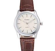Men's Business Style Sliver Dial Leather Band Quartz Wristwatch