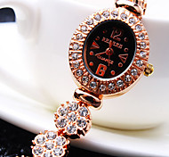 Women's New Luxury Trend Ellipse Diamond Dial Diamond Flower Shape Band Fashion Quartz Bracelet Watch