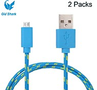 Old Shark™2 Packs 3M 9.8ft Micro USB Charging and Data Sync Cord Cable Fabric Woven Cable for Samsung Blue