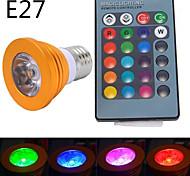 Focos LED Regulable / Control Remoto 无 MR16 E14 / GU10 / E26/E27 5W 1 LED de Alta Potencia 300 LM RGB AC 85-265 V 1 pieza