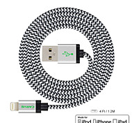 tallar 4 pies (1,2 m) IMF rayo certificado de sincronización USB y cable de carga para el iPhone de Apple 5 / 5s / 6.6 plus Mini iPad /