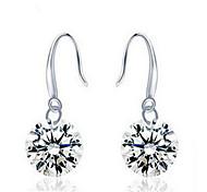 Woman Zircon Silver Circle Earrings