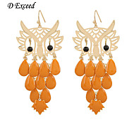D Exceed  Women's Fashion Animail Earrings Gold Plated Hollow Out Orange Enamel Big Owl Earings Jewelry Free Shipping