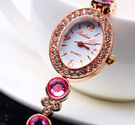Women's New Luxury Trend Ellipse Diamond Dial Diamond Band Fashion Quartz Bracelet Watch (Assorted Colors)