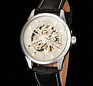 FORSINING Men's Skeleton Auto Mechanical Leather Strap Watch
