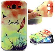 Smiling Face Feathers Words Phrase Pattern 0.6mm Ultra-Thin Soft TPU Case for Sony Samsung I9082