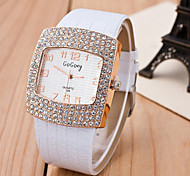 Ladies's Watch High-Grade GoGoey Full Diamond Square Diamond Watch Belt