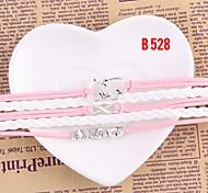 Women Jewelry Handmade Woven Bangle Pink White Bracelet