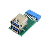 vertical de doble USB 3.0 una hembra de tipo a la placa base de 20 pines adaptador de ranura encabezado cuadro pcba