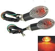 2 PCS Black Plastic Shell Yellow LED Motorbike Turn Signal Indicator Lights