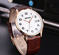 Weiqin ®Auto Date Genuine Leather Strap Stainless Steel Case Men's Business Watches Luxury Brand Quartz Movt