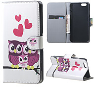 Cute Owls and Hearts Magnetic PU Leather Stand Case Cover for Iphone 6S
