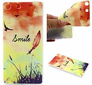 Smiling Face Feathers Words Phrase Pattern 0.6mm Ultra-Thin Soft Case for Sony M5
