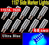 10 X Ultra Blue 1157 BAY15D 68-SMD Blue Car Tail Brake Stop 5050 LED Bulb Lamp