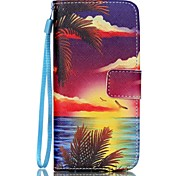 Sea at Sunset Pattern PU Leather Material Flip Card Phone Case for iPhone 6/6S