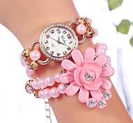 yilisha® le quartz des femmes plaqué or rose fleur perles double enroulement montres bracelet