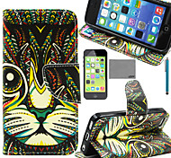 LEXY® Green Cat Tribal Pattern PU Full Body Leather Case with Screen Protector and Stylus for iPhone 5C