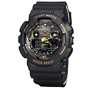 Men's Military Watch Wrist watch Digital LCD Calendar Water Resistant / Water Proof Dual Time Zones Alarm Rubber Band Black Brand