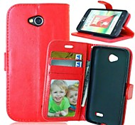 High Quality PU leather Wallet Mobile Phone Holster Case For LG L70(Assorted Color)