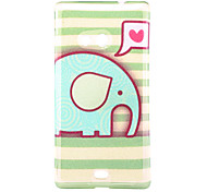 Green Elephant Pattern Glitter Powder TPU Soft Back Cover for Nokia N535