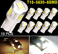 10X T10 White High Power 5630 6-SMD Interior Reverse LED Light Bulb 921 912 906