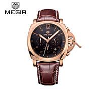 megir® 2015 Mode für Männer Quarz-Uhren mit 3 kleinen Wahlluxusmarken Lederband Zeiger mit Leucht